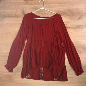 American Eagle Size MEDIUM Red long sleeve shirt